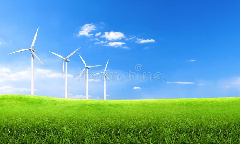 Ανανεώσιμη ενέργεια με τους ανεμοστροβίλους Ανεμοστρόβιλος στους πράσινους λόφους Περιβαλλοντικό υπόβαθρο οικολογίας για τις παρο στοκ φωτογραφία