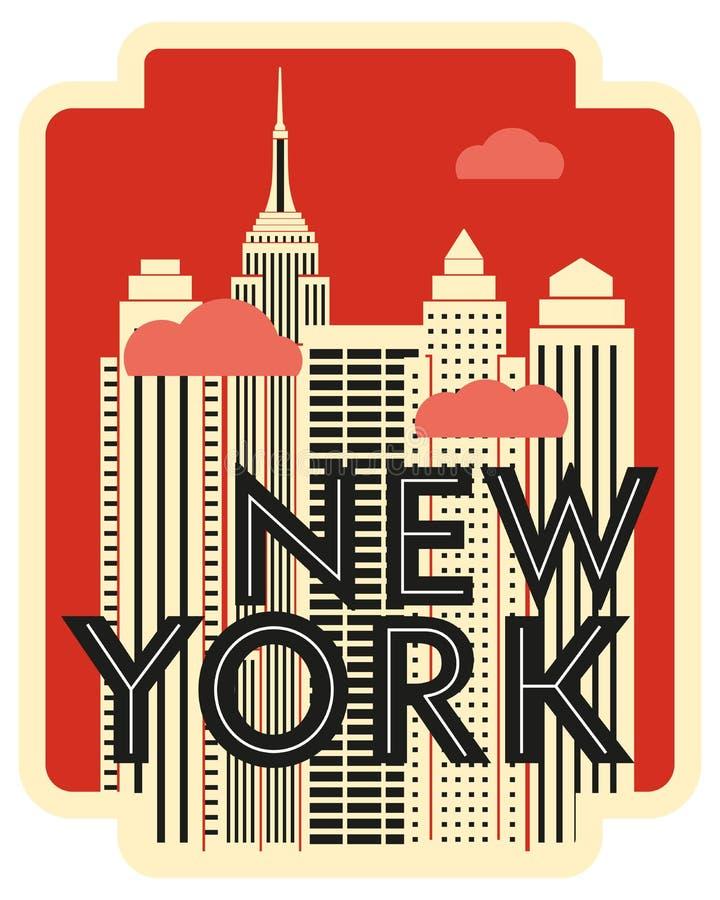 Αναδρομική αφίσα Νέα Υόρκη σχεδίου ουρανοξύστες σύννεφων διανυσματική απεικόνιση