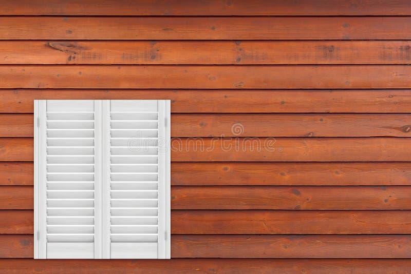 Αναδρομικό άσπρο ξύλινο παράθυρο με τη γρίλληα παραθύρου Sutters τρισδιάστατη απόδοση ελεύθερη απεικόνιση δικαιώματος