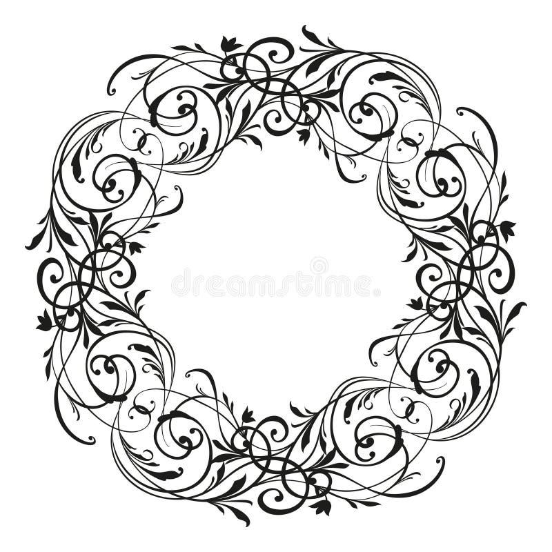Αναδρομικό λουλουδιών σχεδίων παλαιό ύφους στοιχείο σχεδίου στροβίλου διακοσμητικό Εκλεκτής ποιότητας floral διακόσμηση κυλίνδρων διανυσματική απεικόνιση