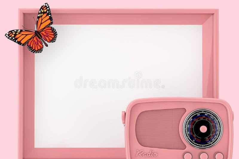 Αναδρομικό ρόδινο ραδιόφωνο μπροστά από το κενό ρόδινο πλαίσιο φωτογραφιών με την πεταλούδα τρισδιάστατη απόδοση στοκ εικόνα με δικαίωμα ελεύθερης χρήσης