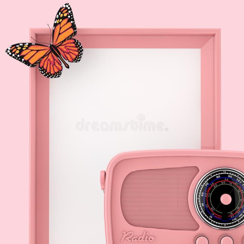 Αναδρομικό ρόδινο ραδιόφωνο μπροστά από το κενό ρόδινο πλαίσιο φωτογραφιών με την πεταλούδα τρισδιάστατη απόδοση απεικόνιση αποθεμάτων