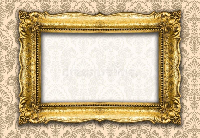 Αναδρομικό πλαίσιο εικόνων αναγέννησης παλαιό χρυσό στοκ φωτογραφία