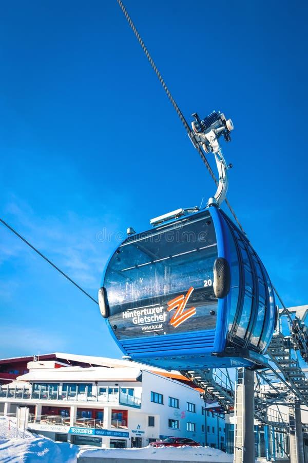 Ανελκυστήρας στο θέρετρο παγετώνων Hintertux σε Zillertal Αυστρία στοκ εικόνες