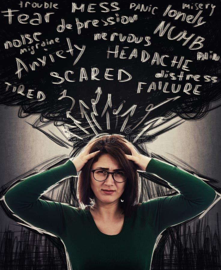 Ανησυχία και συναίσθημα κατάθλιψης στοκ εικόνα
