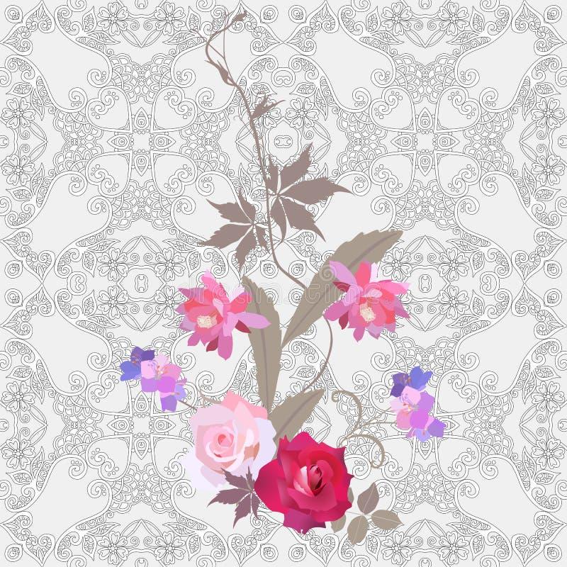 Ανθοδέσμη των τρυφερών λουλουδιών κήπων σε ένα διακοσμητικό υπόβαθρο δαντελλών Όμορφη ταπετσαρία, που τυπώνει για το ύφασμα πρότυ διανυσματική απεικόνιση