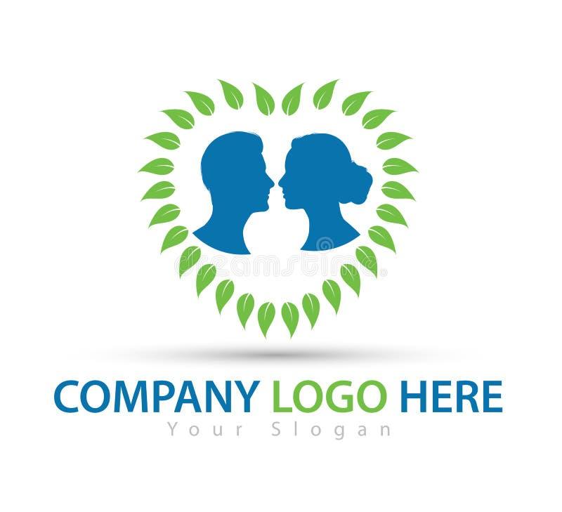 Ανθρώπινος χαρακτήρας με το πράσινο λογότυπο έννοιας, το διάνυσμα λογότυπων ανδρών και γυναικών διανυσματική απεικόνιση