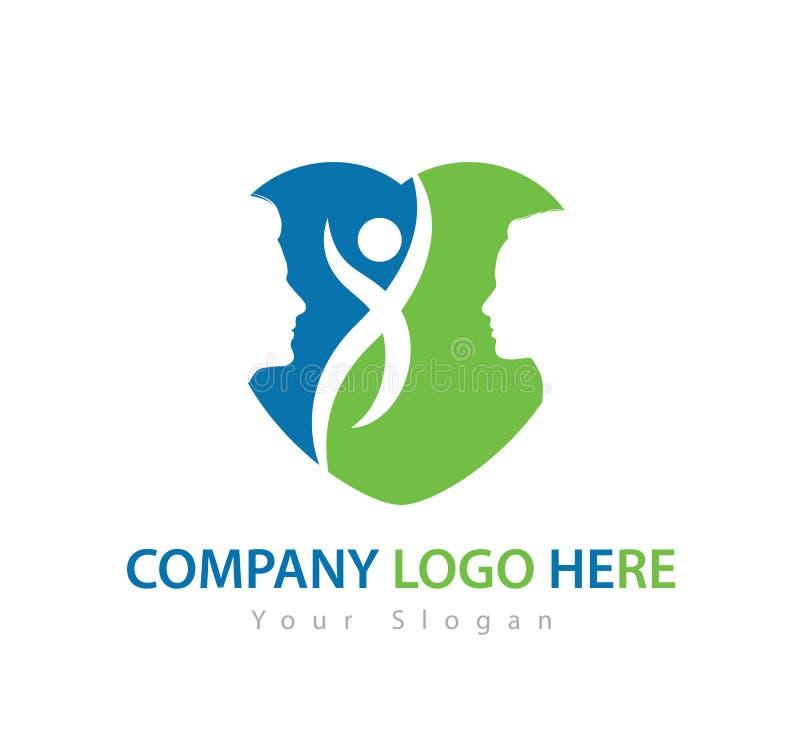 Ανθρώπινος χαρακτήρας με το πράσινο λογότυπο έννοιας, το διάνυσμα λογότυπων ανδρών και γυναικών ελεύθερη απεικόνιση δικαιώματος