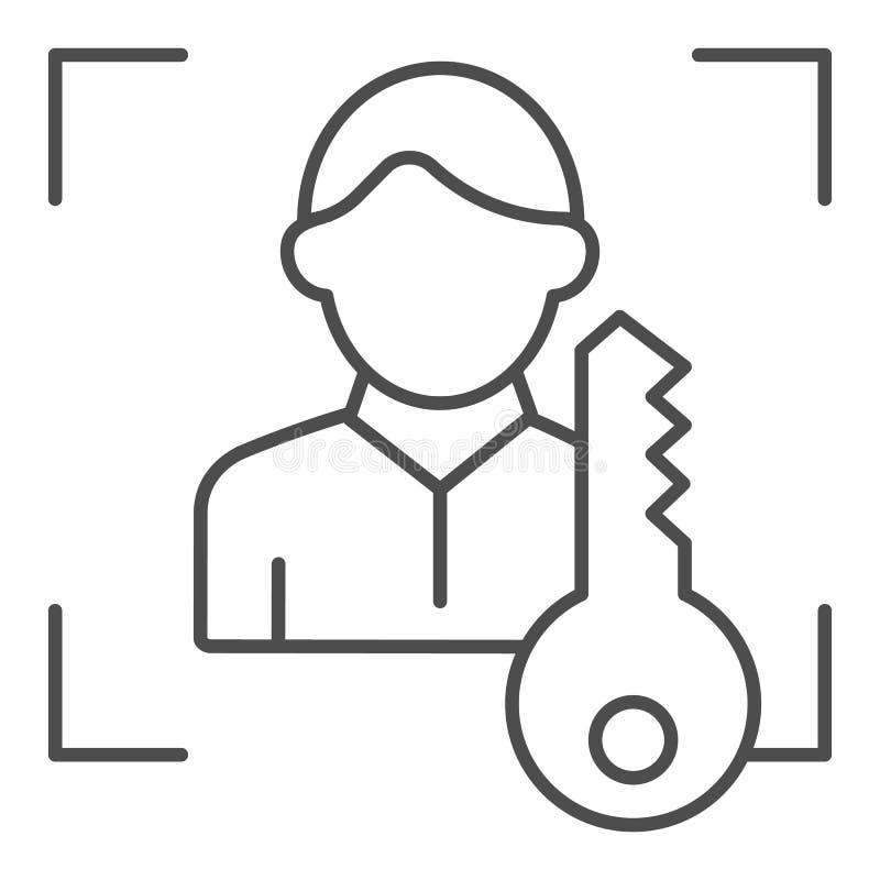 Ανιχνευτής ταυτότητας προσώπου με το βασικό λεπτό εικονίδιο γραμμών Χρηστών προσδιορισμού απεικόνιση που απομονώνεται διανυσματικ διανυσματική απεικόνιση