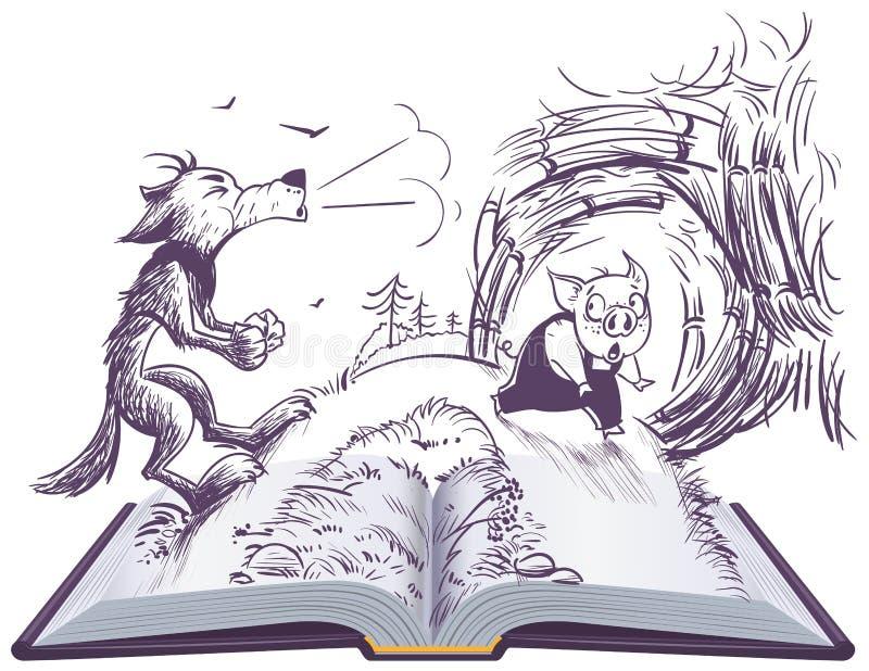 Ανοικτή απεικόνιση βιβλίων παραμυθιού τριών χοίρων Ο λύκος που φυσά έσπασε το σπίτι διανυσματική απεικόνιση