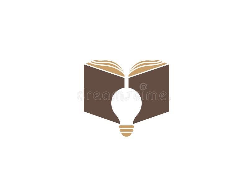 Ανοικτό βιβλίο με το λαμπτήρα για το σχέδιο λογότυπων διανυσματική απεικόνιση