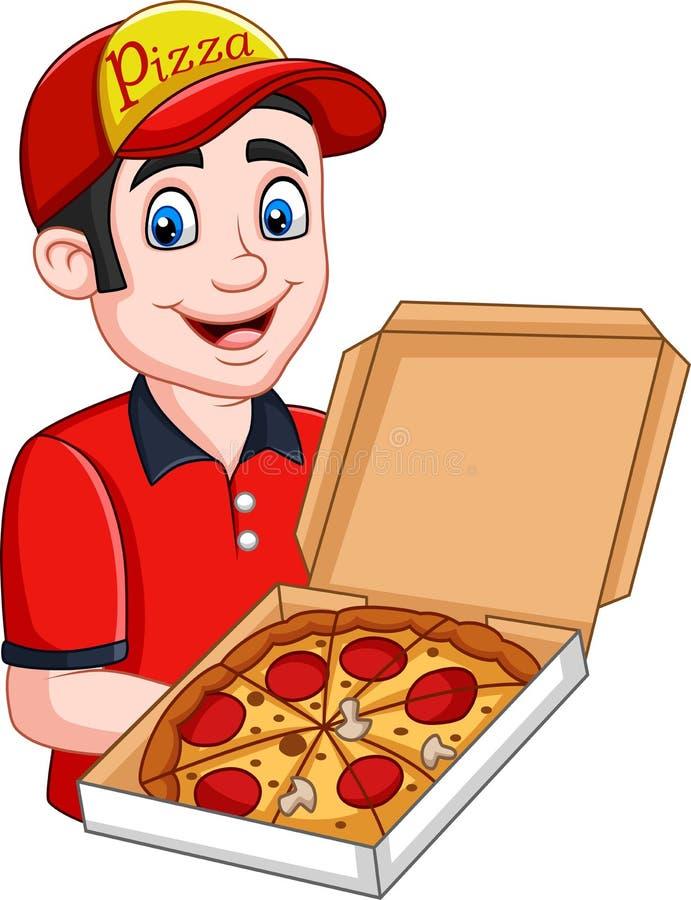 Ανοικτό κουτί από χαρτόνι εκμετάλλευσης πιτσών deliveryman με pepperoni την πίτσα διανυσματική απεικόνιση