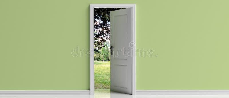Ανοιχτή πόρτα στο πράσινο υπόβαθρο τοίχων κρητιδογραφιών, άποψη πάρκων από την πόρτα που ανοίγει, τρισδιάστατη απεικόνιση διανυσματική απεικόνιση