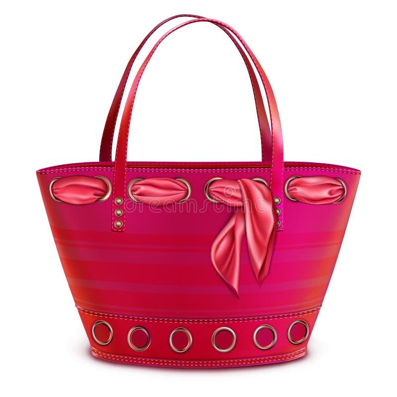 Ανοιχτό ροζ τσαντών παραλιών γυναικών με ένα ρόδινο μαντίλι διανυσματική απεικόνιση