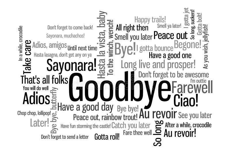 Αντίο σύννεφο ετικεττών του Word όταν πέστε το αντίο διανυσματική απεικόνιση