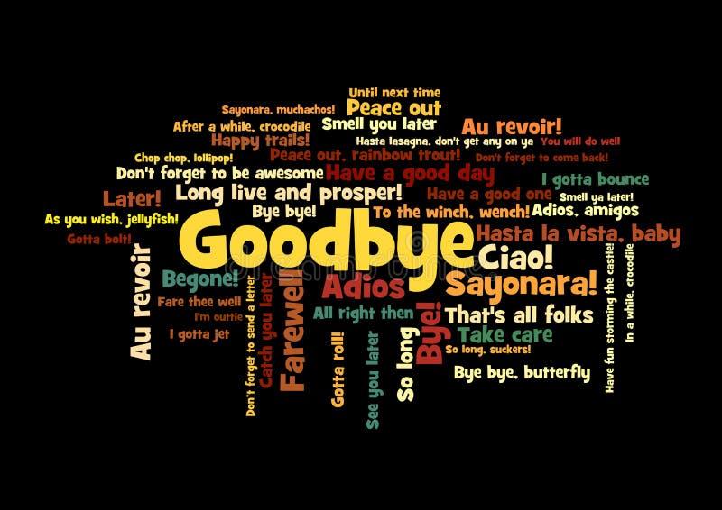 Αντίο σύννεφο ετικεττών του Word πώς πέστε το αντίο διανυσματική απεικόνιση