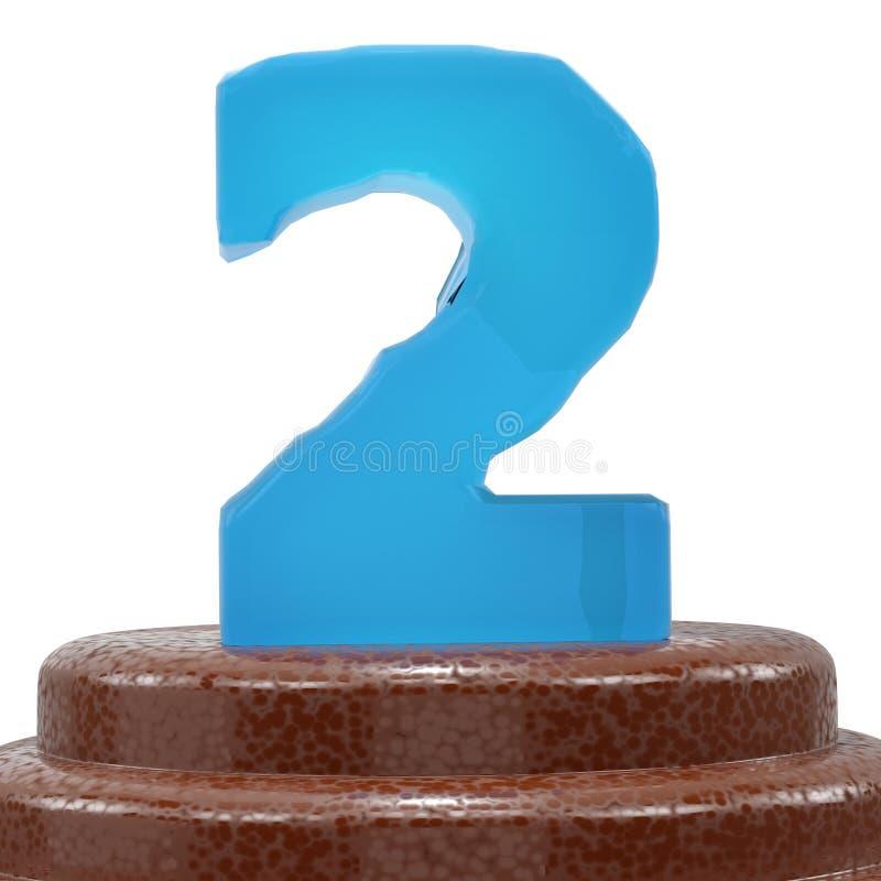 Αριθμός 2 δύο στο κέικ ChoÑ  olate η τρισδιάστατη απεικόνιση δίνει διανυσματική απεικόνιση