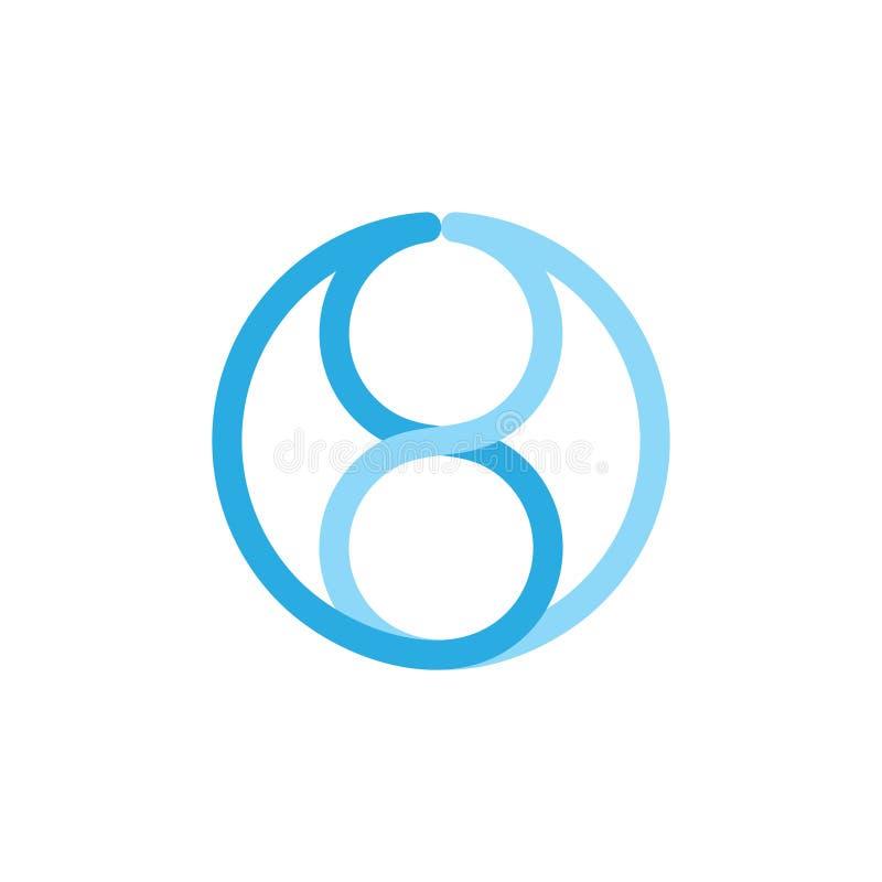 Αριθμός 8 συνδεμένο λογότυπο εμπορικών σημάτων γραμμών απεικόνιση αποθεμάτων