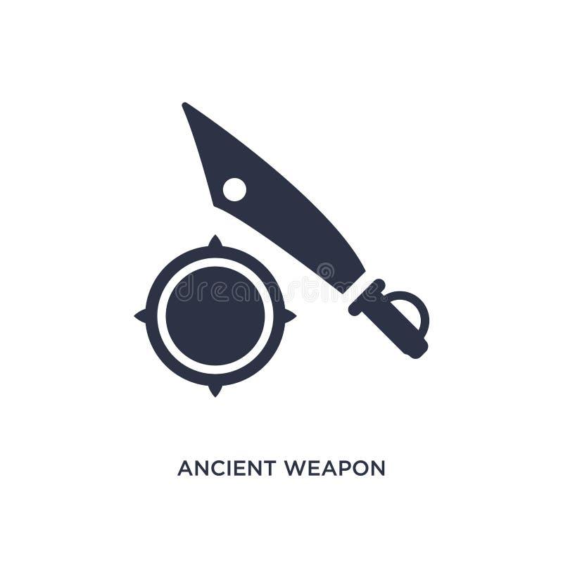 αρχαίο εικονίδιο όπλων στο άσπρο υπόβαθρο Απλή απεικόνιση στοιχείων από την έννοια ιστορίας διανυσματική απεικόνιση