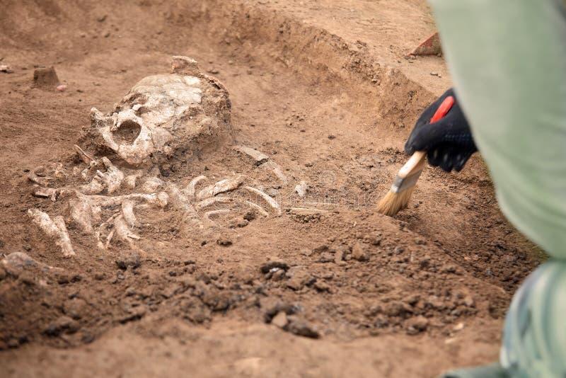 αρχαιολογικό πάρκο paphos kato ανασκαφών της Κύπρου Ο αρχαιολόγος σε μια digger διαδικασία Κλείστε επάνω τα χέρια με τη βούρτσα π στοκ εικόνα