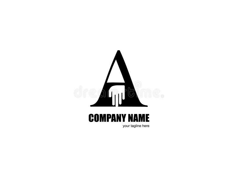 Αρχικό γράμμα Α με χεριών το γραπτό σχεδίου στοιχείο επιστολών λογότυπων γραφικό μαρκάροντας διανυσματική απεικόνιση