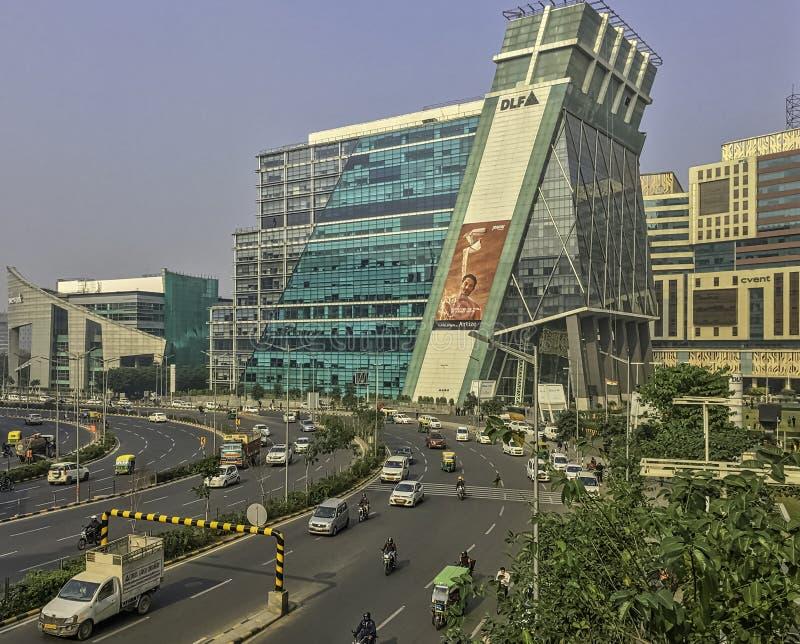 Αρχιτεκτονική της πόλης/Cyberhub Cyber σε Gurgaon, Νέο Δελχί, Ινδία στοκ εικόνες