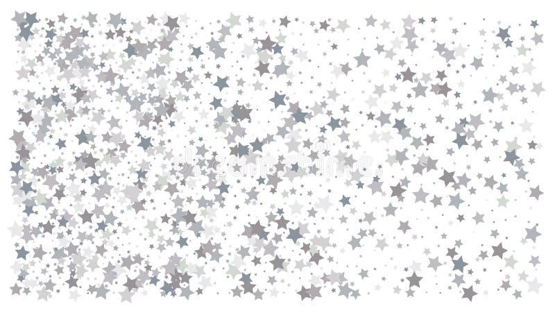 ασημένια αστέρια Εορτασμός κομφετί διανυσματική απεικόνιση