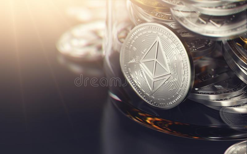 Ασημένιο νόμισμα Ethereum σε ένα σύνολο βάζων άλλων cryptocurrencies και διαστήματος αντιγράφων στο αριστερό Κράτηση του χρηματοκ απεικόνιση αποθεμάτων