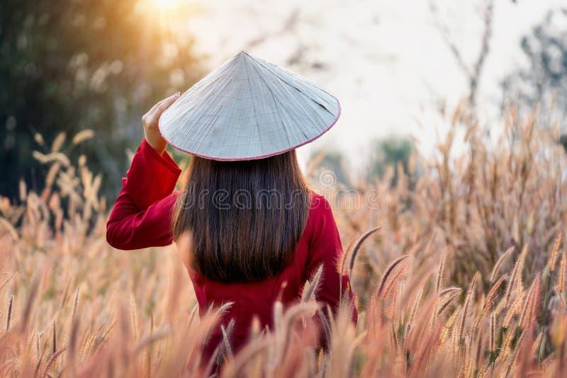 Ασιατική γυναίκα που φορά τον πολιτισμό του Βιετνάμ παραδοσιακό στον αφρικανικό τομέα λουλουδιών πηγών στοκ φωτογραφία