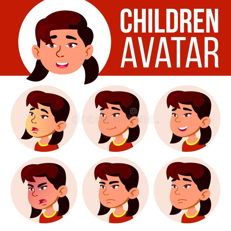 Ασιατικό κοριτσιών διάνυσμα παιδιών ειδώλων καθορισμένο kindergarten Αντιμετωπίστε τις συγκινήσεις Πορτρέτο, χρήστης, παιδί Junio απεικόνιση αποθεμάτων
