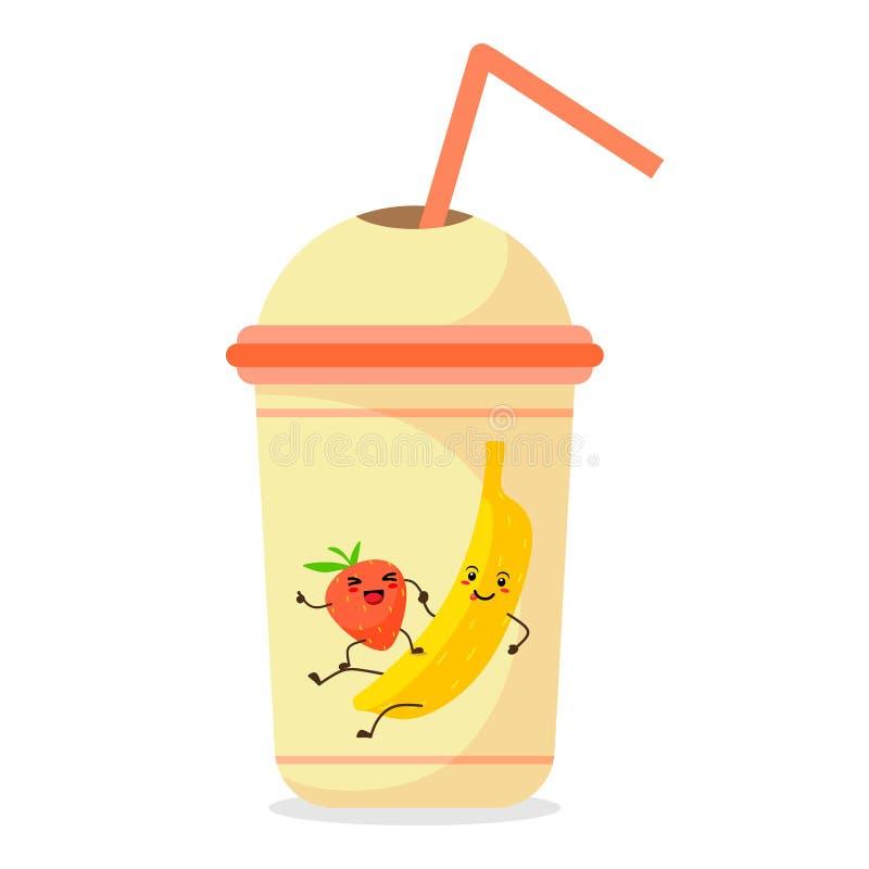 Αστείες μπανάνα και φράουλα μαζί σε μια κούπα με έναν καταφερτζή διανυσματικό λευκό καρ&chi Κούπα με ένα άχυρο απεικόνιση αποθεμάτων