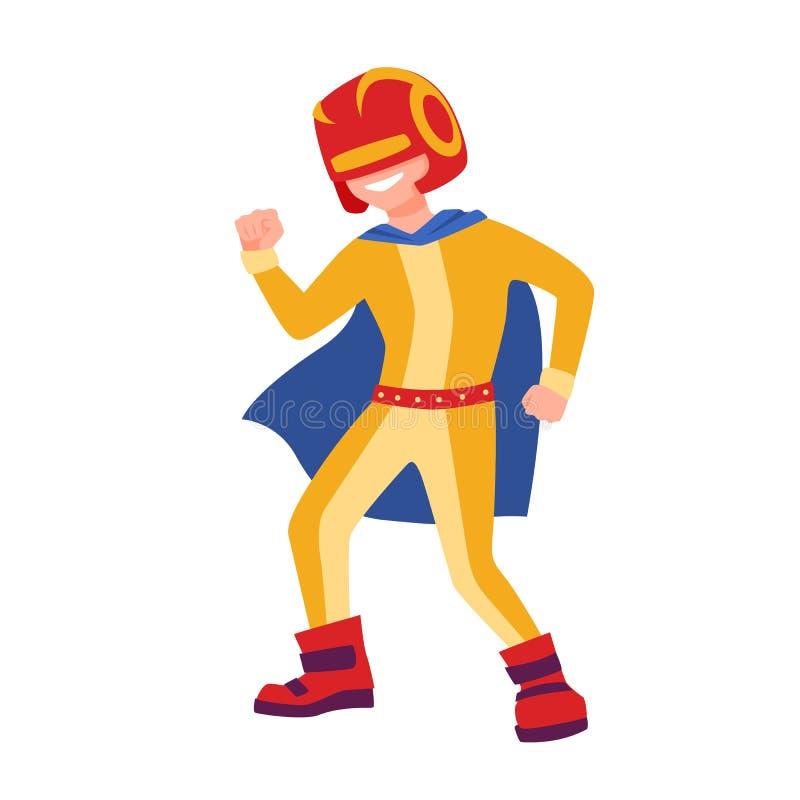 Αστείος superboy ή superchild Γενναίο και ισχυρό παιδί superhero που στέκεται στην ισχυρή θέση Φανταστικός ήρωας παιδιών με ελεύθερη απεικόνιση δικαιώματος