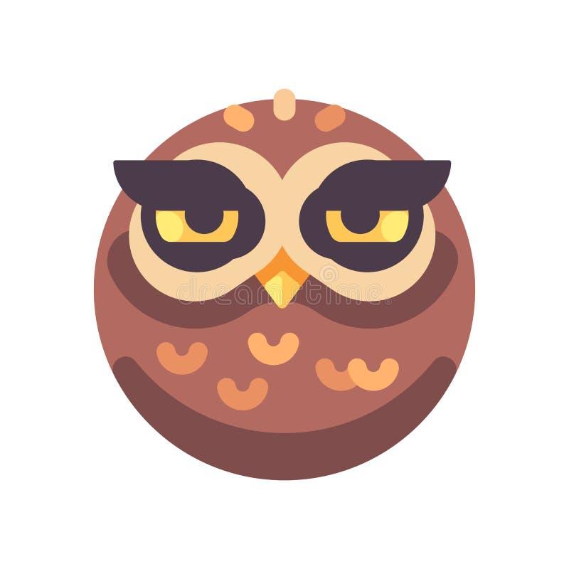 Αστείο νυσταλέο καφετί επίπεδο εικονίδιο προσώπου κουκουβαγιών ελεύθερη απεικόνιση δικαιώματος