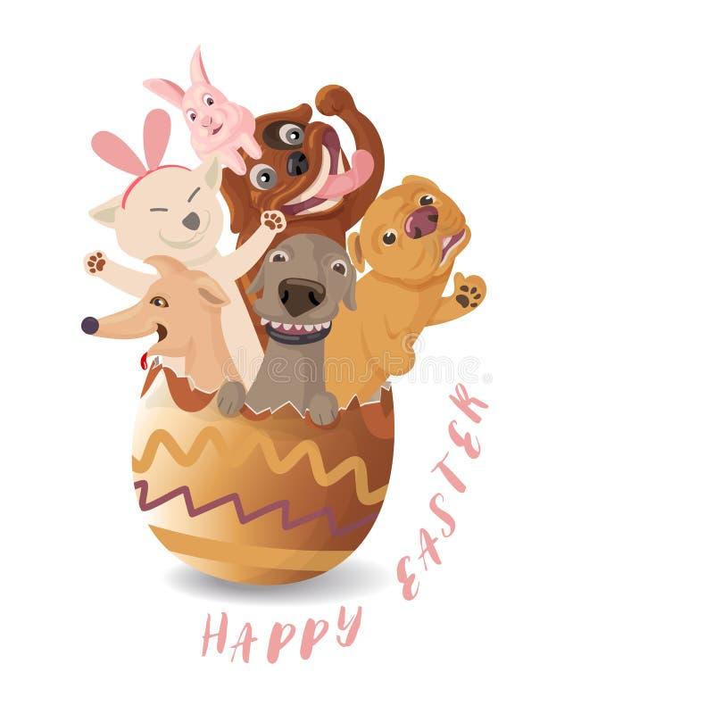Αστείο Πάσχα, χαριτωμένα κινούμενα σχέδια των σκυλιών που εκκολάπτουν από τα αυγά Πάσχας με το ρόδινο κουνέλι λαγουδάκι απεικόνιση αποθεμάτων