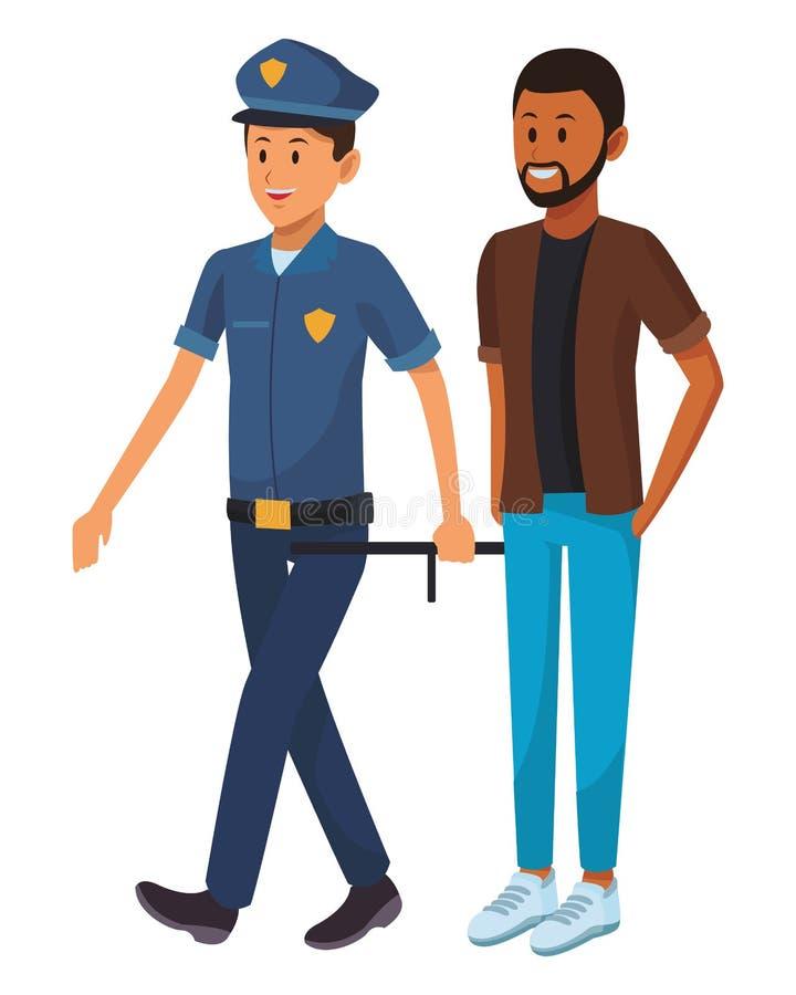 Αστυνομικός και αφροαμερικανός άτομο απεικόνιση αποθεμάτων