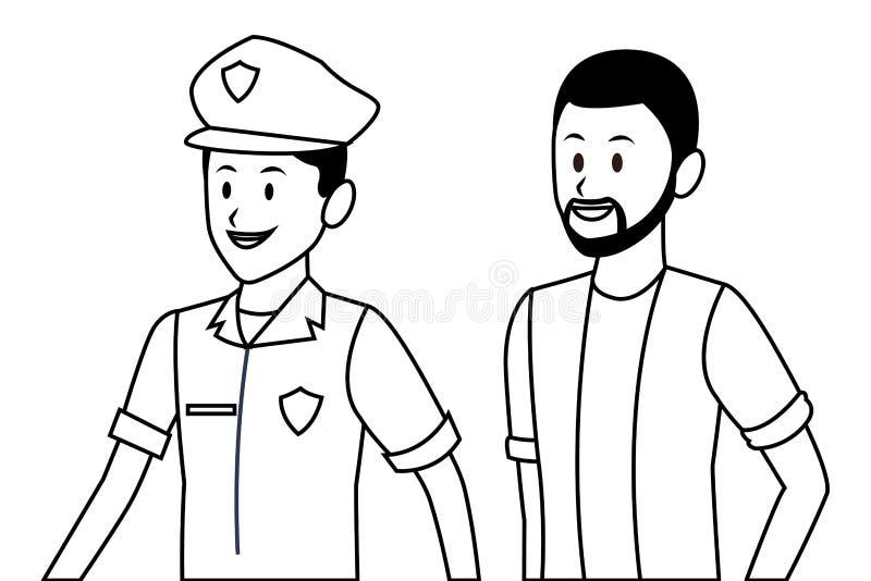 Αστυνομικός και αφροαμερικανός άτομο διανυσματική απεικόνιση