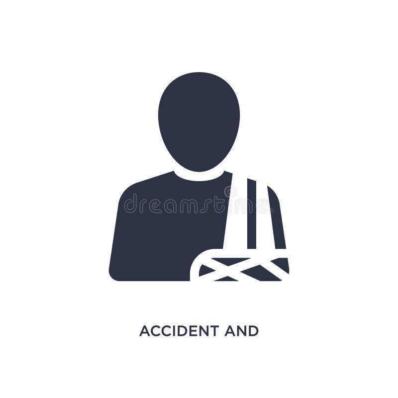 ατύχημα και εικονίδιο τραυματισμών στο άσπρο υπόβαθρο Απλή απεικόνιση στοιχείων από την έννοια νόμου και δικαιοσύνης απεικόνιση αποθεμάτων
