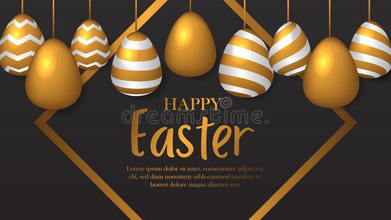 Αφίσα εμβλημάτων για Πάσχα με το ρεαλιστικό αυγό με τη χρυσή διακόσμηση ελεύθερη απεικόνιση δικαιώματος