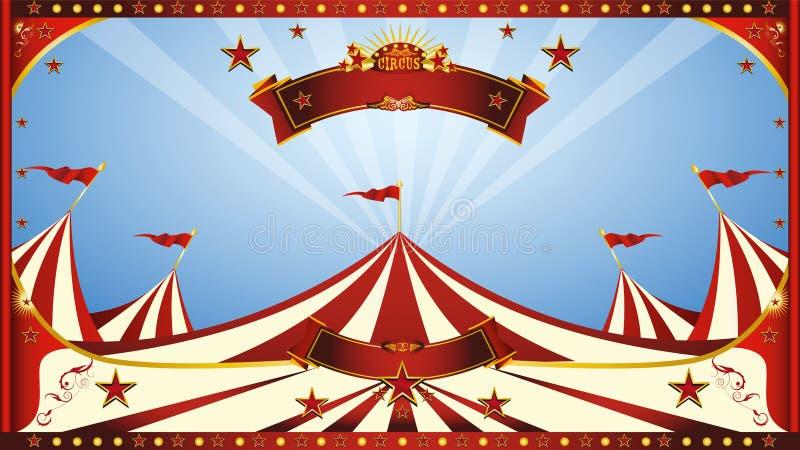 Αφίσα τσίρκων μπλε ουρανού διανυσματική απεικόνιση
