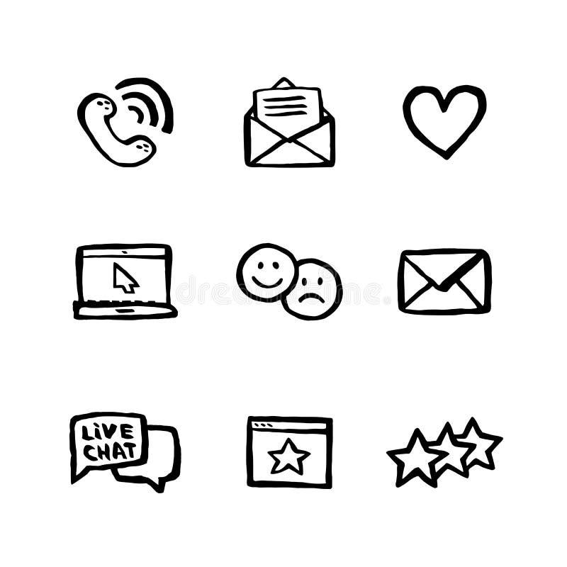 Αφελές σύνολο εικονιδίων ύφους Έννοια τηλεφωνικών κέντρων Συνομιλία εξυπηρέτησης πελατών Σύνολο ύφους μελανιού Doodle σχετικού με διανυσματική απεικόνιση