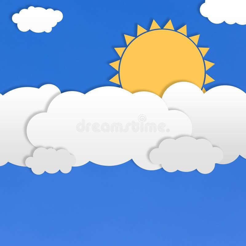 Αφηρημένα άσπρα σύννεφα και κίτρινος ήλιος στο υπόβαθρο μπλε ουρανού απεικόνιση αποθεμάτων