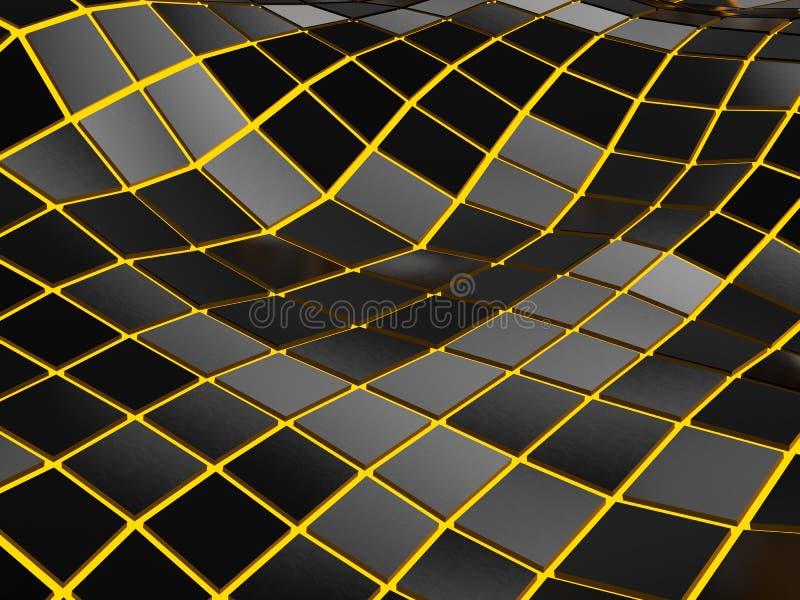 Αφηρημένα χαμηλά πολυ ψηφιακά κύματα - πορτοκαλί φως πυράκτωσης διανυσματική απεικόνιση