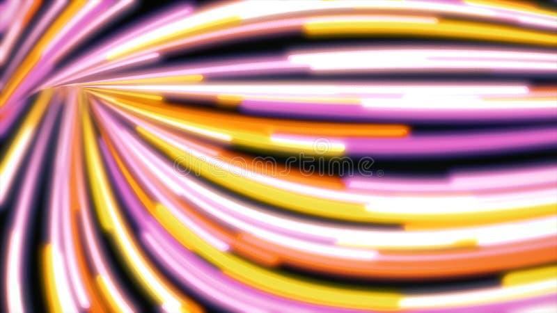 Αφηρημένες κυματιστές γραμμές νέου που κινούνται γρήγορα, υπόβαθρο κινήσεων Γρήγορα να ρεύσει των στενών, κυρτών, ζωηρόχρωμων λωρ απεικόνιση αποθεμάτων
