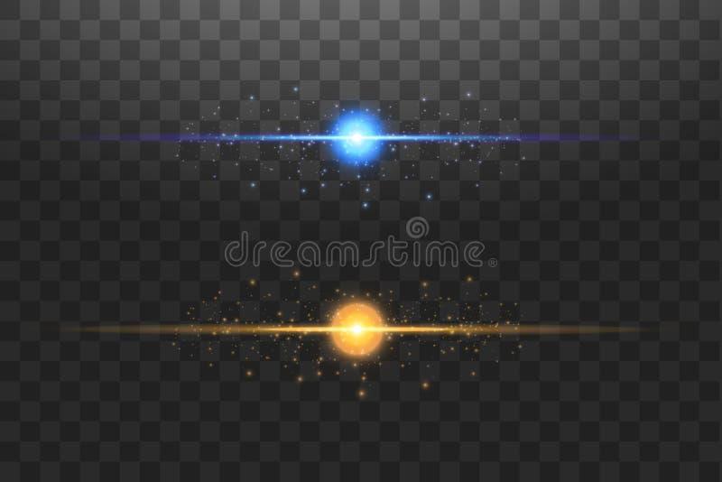 Αφηρημένες μπλε και χρυσές γραμμές φω'των στη διαφανή διανυσματική απεικόνιση υποβάθρου Μια φωτεινή λάμψη του φωτός στη γραμμή διανυσματική απεικόνιση