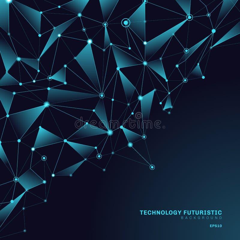 Αφηρημένες polygonal μορφές τριγώνων στο σκούρο μπλε υπόβαθρο που αποτελείται από τις γραμμές και τα σημεία υπό μορφή πλανητών κα διανυσματική απεικόνιση