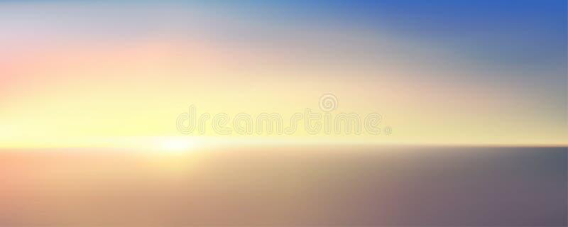 Αφηρημένη εναέρια πανοραμική άποψη της ανατολής πέρα από τον ωκεανό Παρά μπλε φωτεινός ουρανός και βαθιά σκοτεινό νερό Όμορφη γαλ διανυσματική απεικόνιση