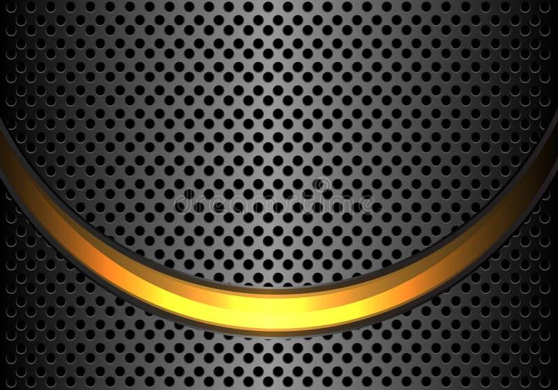 Αφηρημένη χρυσή ελαφριά καμπύλη στο σκοτεινό γκρίζο μεταλλικό κύκλων πλέγματος σχεδίου σύγχρονο διάνυσμα υποβάθρου πολυτέλειας φο απεικόνιση αποθεμάτων