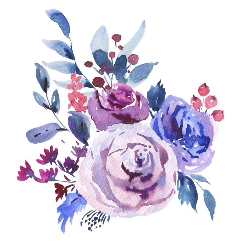 Αφηρημένη Floral ευχετήρια κάρτα Watercolor σε ένα ύφος Λα Prima, ιώδη τριαντάφυλλα Watercolor διανυσματική απεικόνιση