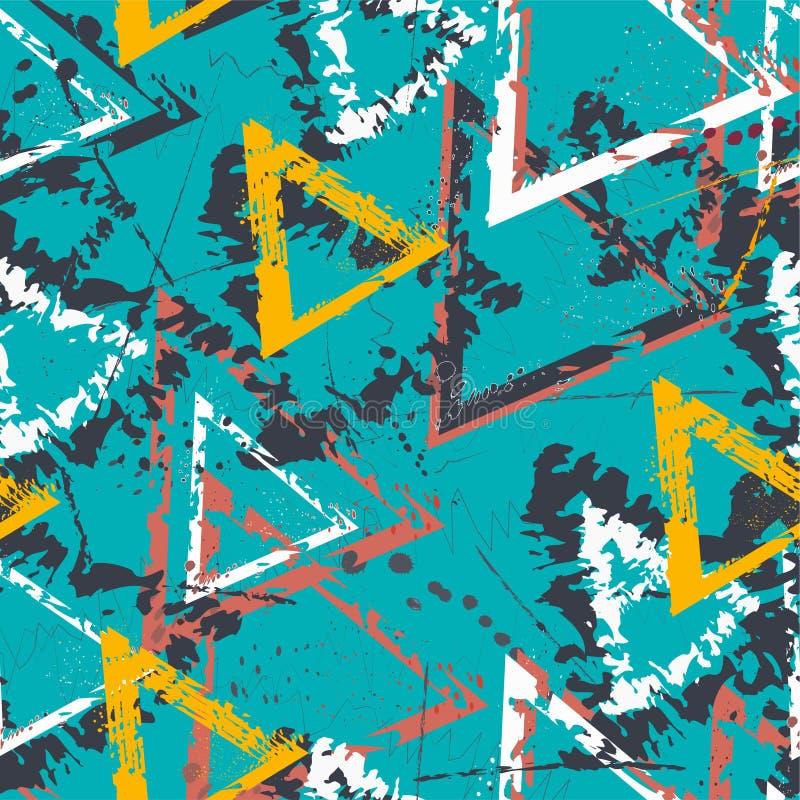 Αφηρημένο άνευ ραφής γεωμετρικό σχέδιο με τα τρίγωνα Σχέδιο Grunge για τα αγόρια, κορίτσια, αθλητισμός, μόδα Αστική ζωηρόχρωμη τα απεικόνιση αποθεμάτων