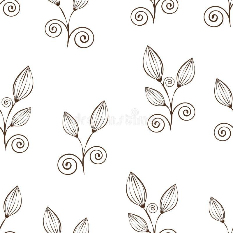 Αφηρημένο άνευ ραφής σχέδιο λουλουδιών, γραπτό σχέδιο χεριών περιλήψεων, γραμμική απεικόνιση, διανυσματικό μονοχρωματικό υπόβαθρο διανυσματική απεικόνιση